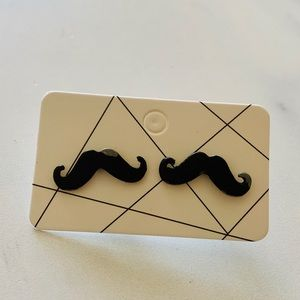 Claire's mustache earrings studs man black card